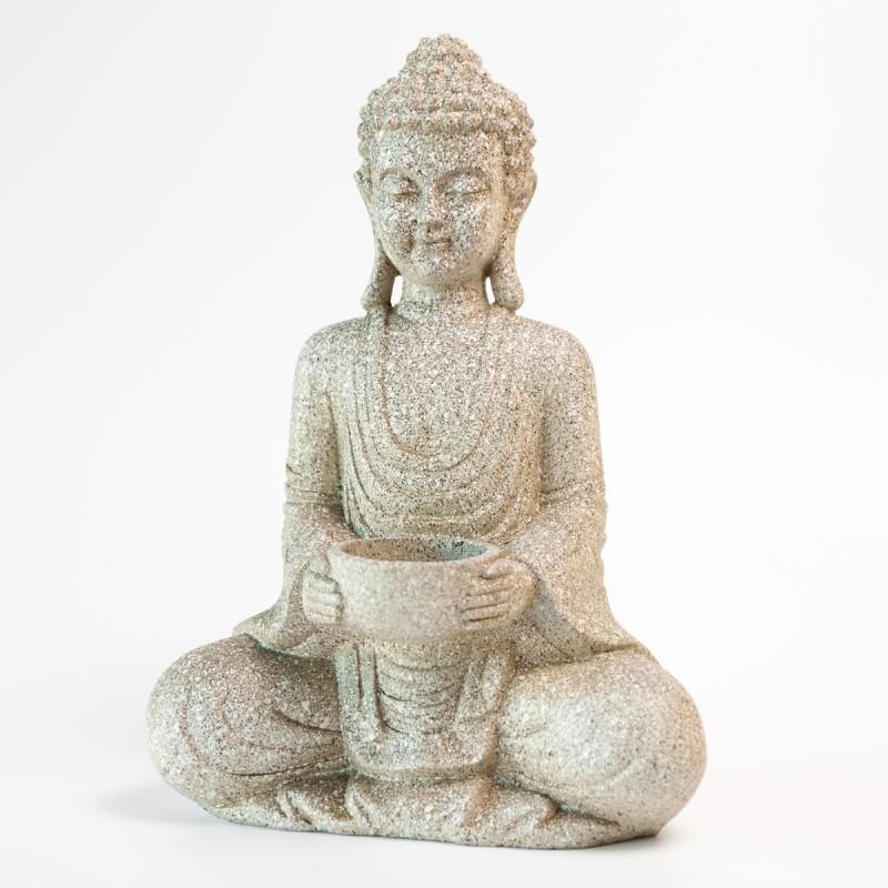 Buddha figur i flot stenfinish med holder til fyrfadslys for Buddha figur