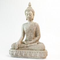 Smuk og stor Thailandsk Buddha i grå/hvid