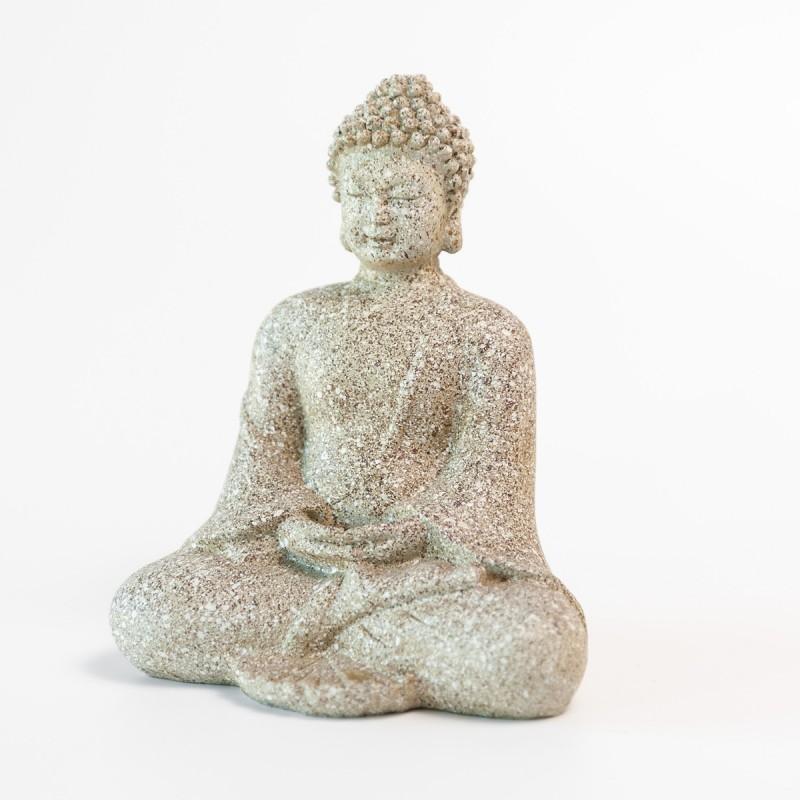 Lille hvid gr mediterende buddha figur for Figur buddha