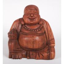 Tyk leende Buddha i træ 17 cm. høj