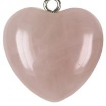 Nøglering med rosakvarts hjerte