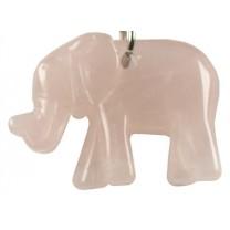 Nøglering med rosakvarts elefant