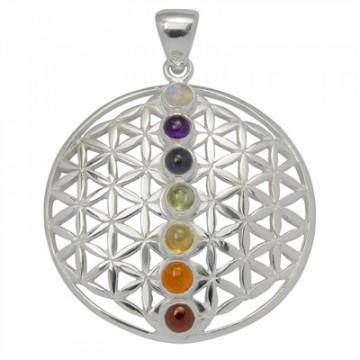 Livets blomst vedhæng  i sterling sølv med chakra sten