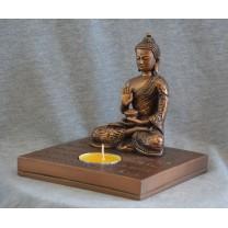 Buddha figur i bronce med fyrfadlys