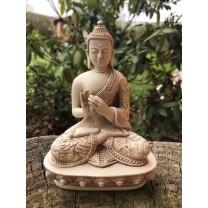 Hvid Buddha Turning the Wheel of the Dharma.