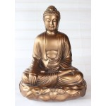 Sidende buddha statue 29 cm Guld