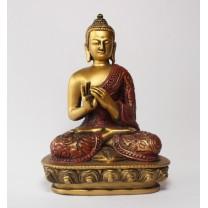 Buddha rød/gylden No fear Mudra