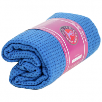 Skridfast yoga håndklæde/underlag blå