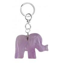 Nøglering med ametyst elefant