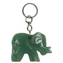 Nøglering med aventurin elefant