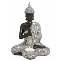 Thailandsk sølv og mørkebrun Buddha