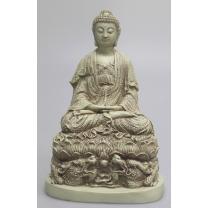 Antikhvid mediterende Buddha på Drage-base