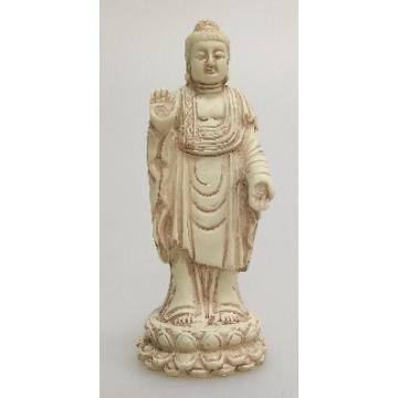 Stående Buddha hvid-sten finish
