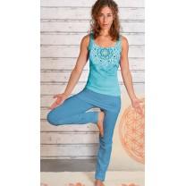 Yoga bukser med ombuk blå