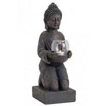 Siddende Buddha med glasskål