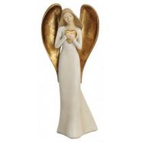 Engel figur m hjerte 23 cm.