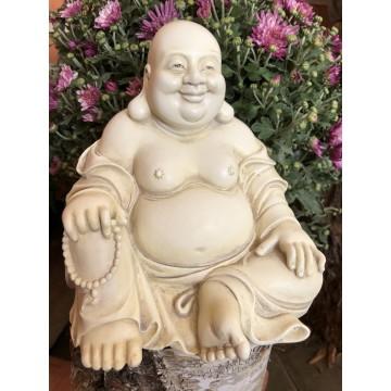 Happy Buddha i hvid 18 cm