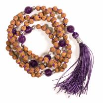 Mala kæde med Ametyst og Rudraksha