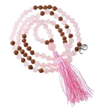 Mala halskæde med Rosakvarts og Rudraksha