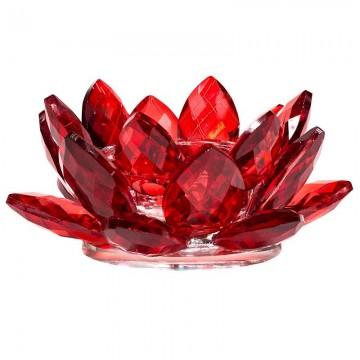 Lotus krystal Lysestage rød