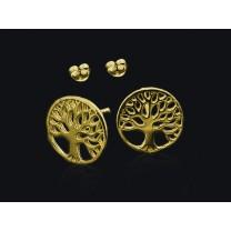 Livets træ guld øreringe