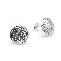 Livets blomst ørerstikker i sølv 10mm