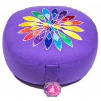 Meditationspude Lilla med multi coloured blomst
