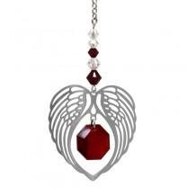 Engle vinge med hjerte granat