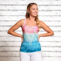 Yoga top - Mandala indigo/peach - Spirit of om