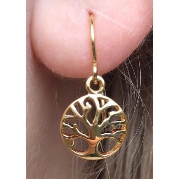 Livets træ hænge øreringe Guld