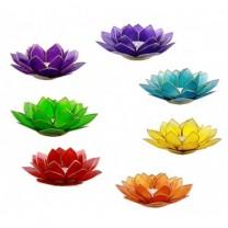 Syv Lotus Chakra Lysestager Sølv
