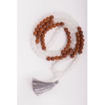 Mala halskæde med Bjergkrystal & Rudraksha