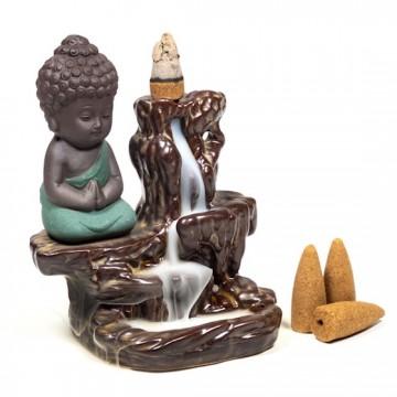 Backflow røgelses holder lille Buddha