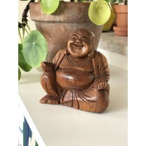 Happy Buddha i træ 16 cm. høj