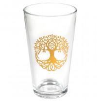 Glas med livetstræ i guld