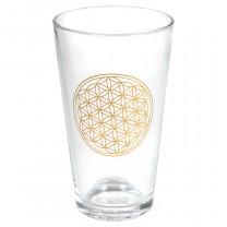 Glas med livetsblomst i guld