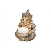 Glimmer Ganesha lille med lys 11cm