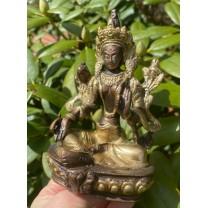 Grøn Tara figur messing 13cm