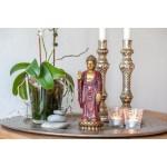 Stående Buddha-figur (guld-rød finish)