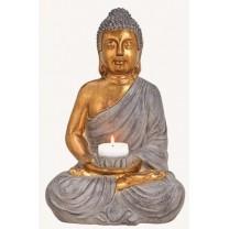 Gylden Buddha til fyrfadslys 41 cm