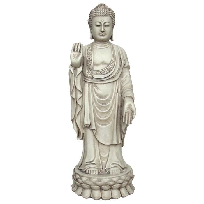 St ende buddha figur hvid sten finish for Figur buddha