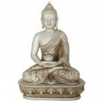 Buddha i meditation hvid sten finish