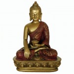 Sakyamuni Buddha guld/rød finish