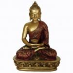 Buddha i meditation guld/rød finish