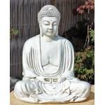 Stor Buddha statue i hvid patina