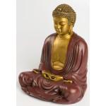 Stor Buddha statue i guld og rød finish