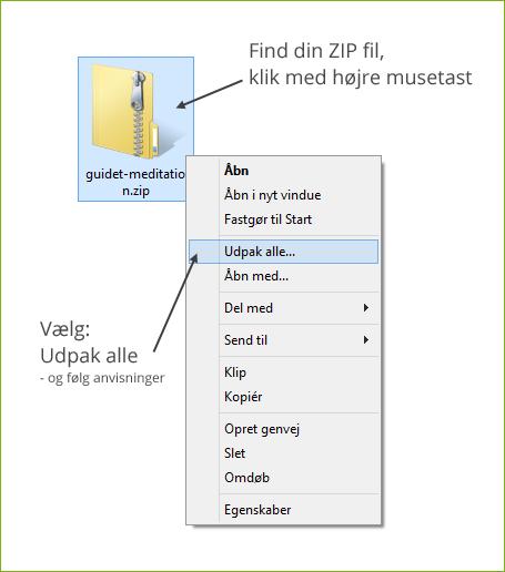 Sådan udpakker du zip filer